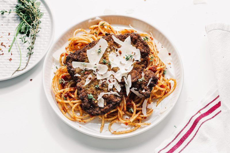 Steak Milanese With Spaghetti