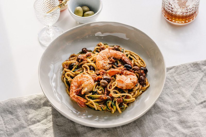 Zoodles Puttanesca with Shrimp