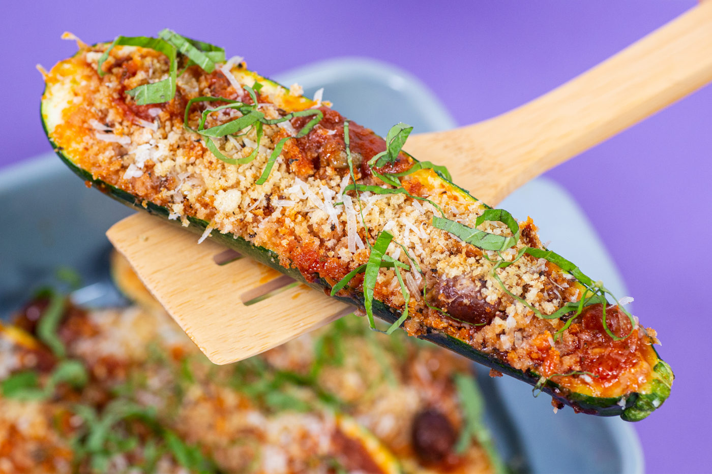 Puttanesca Stuffed Zucchini Boats