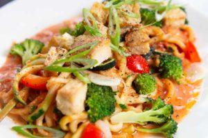 Vegan Zucchini Pasta with Crispy Tofu